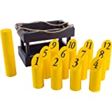Hey! Play! Wooden Throwing Game-Complete Set, 12 Numbered Pins, Throwing Dowel, Carrying Crate-Outdoor Lawn Games For Adults and Kids