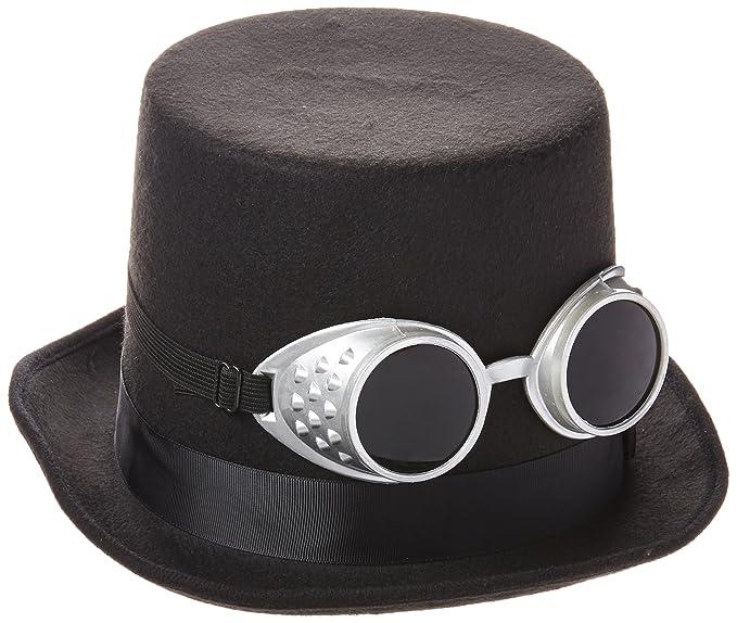 Amazon.com  Steampunk Black Top Hat with Silver Goggles  Clothing f9ad158da8ea