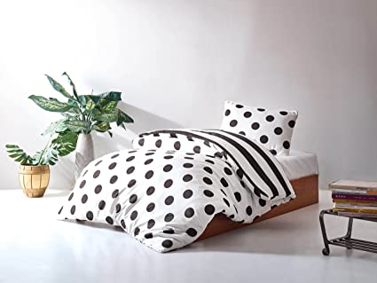 Amazon.com: DecoMood Stripped Polka Dot Bedding Set, Single ...