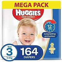 HUGGIES Ultra Comfort Diapers, Size 3, Jumbo Pack, 4-9 kg, 164 Diapers