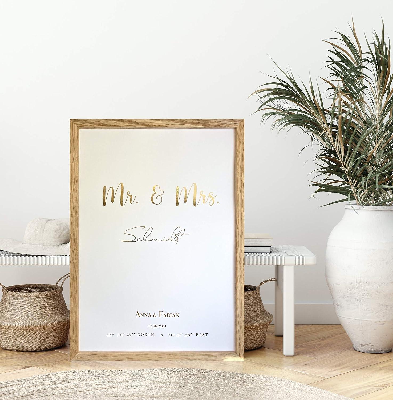 Hochzeitsgeschenk personalisiert ungerahmt Gastgeschenk zur Hochzeit f/ür Brautpaare