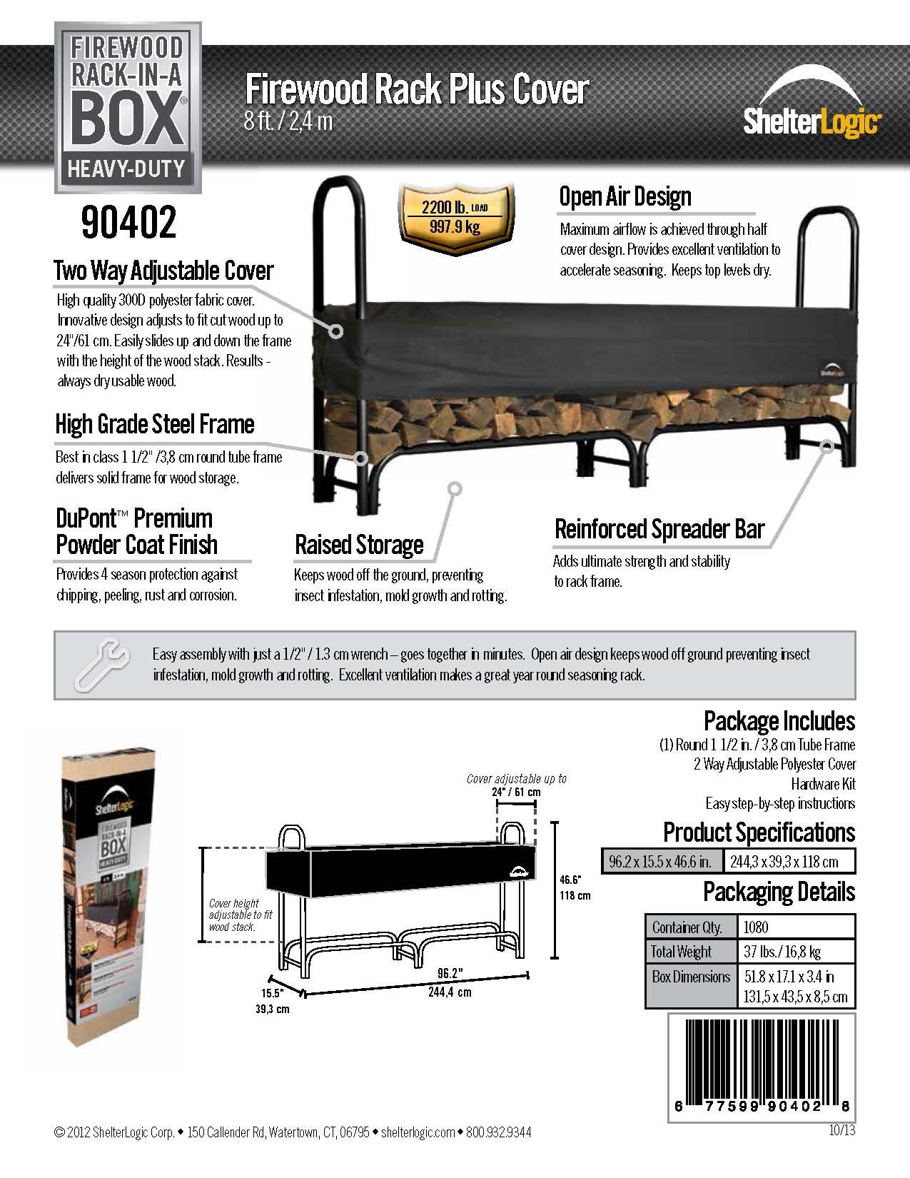 ShelterLogic Heavy Duty Firewood Rack with Cover, 8 ft.