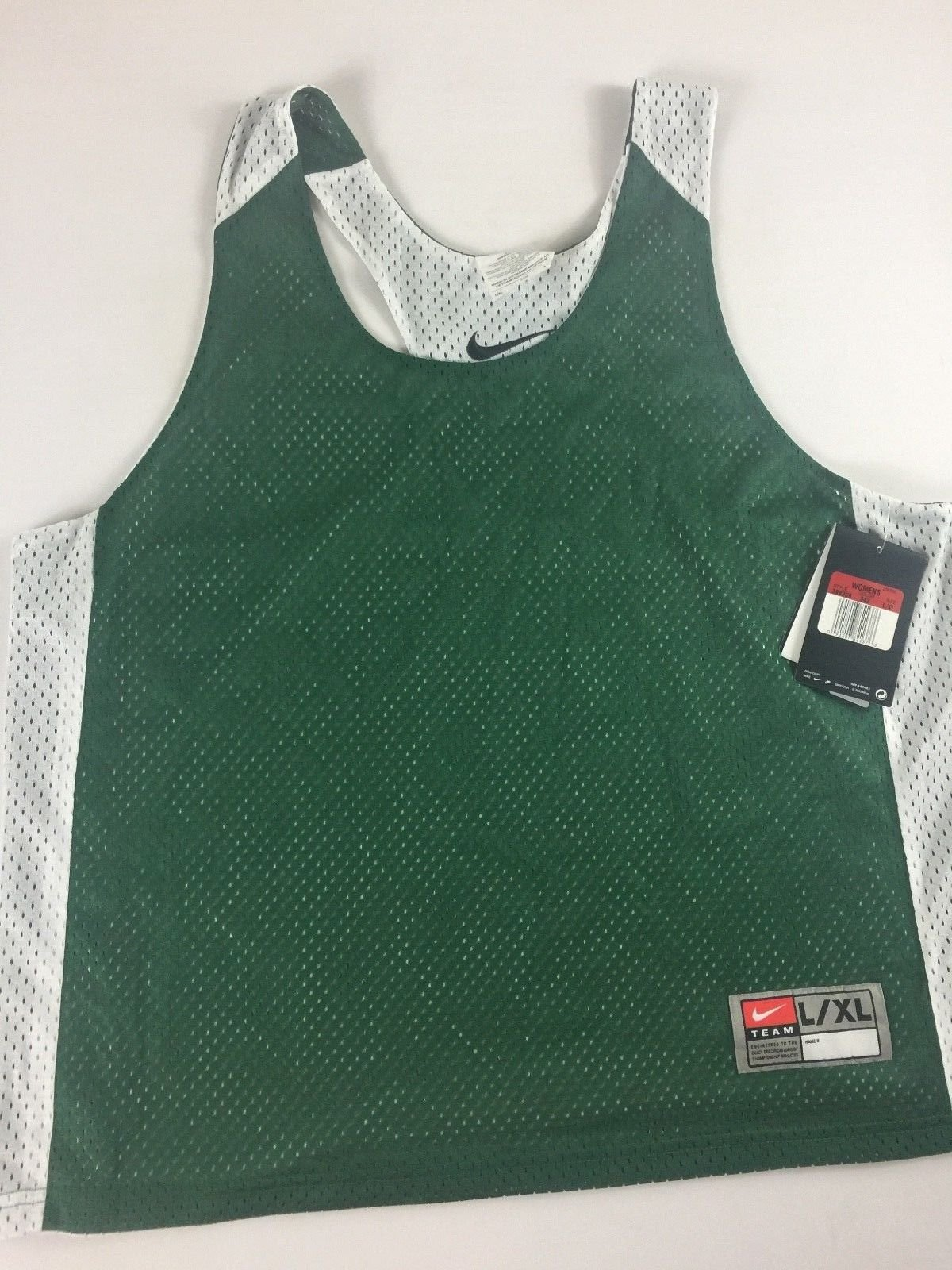 Lacrosse Jersey Womens L/XL Green White Mesh Reversible Team Shirt Tank Top