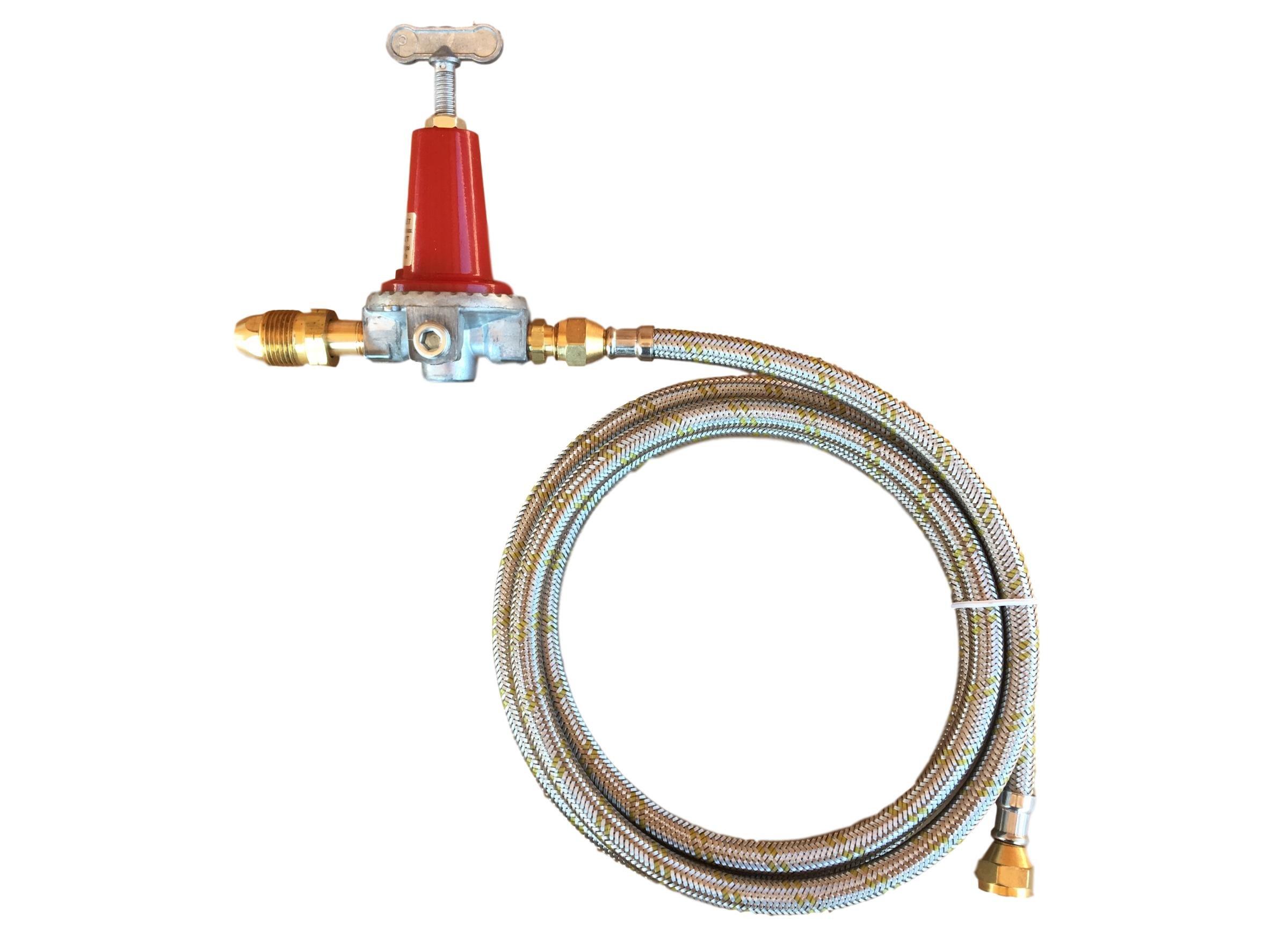 Adjustable 0 to 40psi Propane Regulator POL 6ft Stainless Braided Steel Hose LP Gas Burner Fryers