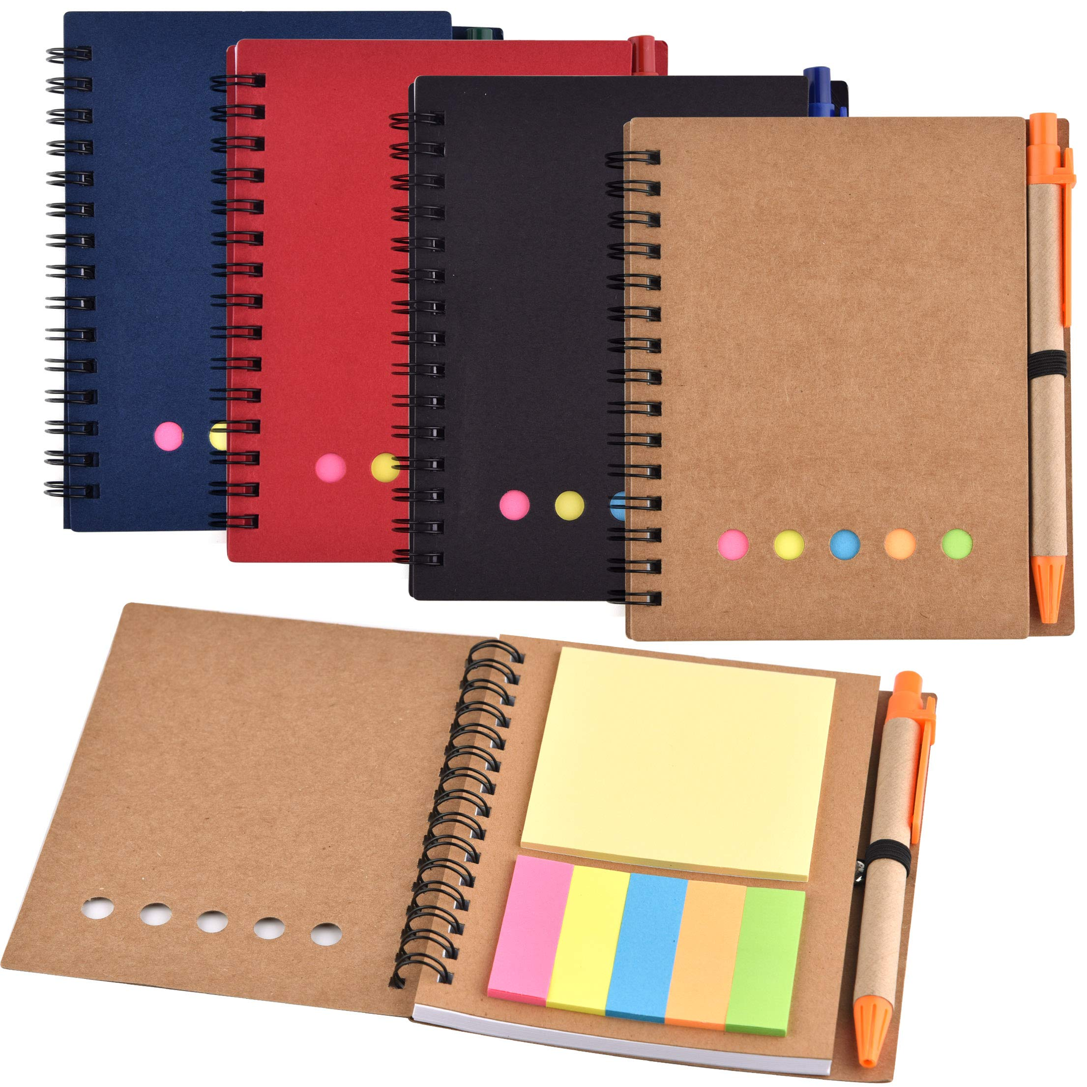 Coopay 4 Pack Spiral Notebook Lined Notepad with Pen in Holder and Sticky Notes, Page Marker Index Tabs Flags (Black, Blue, Red, Brown