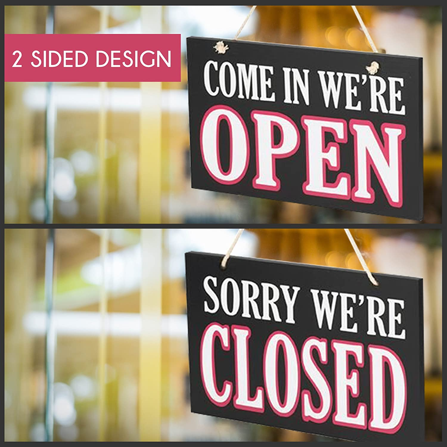 JennyGems Wooden Open Closed Two Sided Sign Rope Hanging - Wooden Business Sign 00001