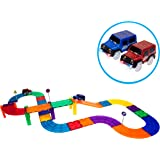 PicassoTiles 30 Piece Race Car Track Building Block Educational Toy Set Magnetic Tiles Magnet DIY Playset 2 Light Up Car STEM Learning Construction Kit Hand-Eye Coordination Fine Motor Skill Training