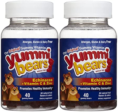 Yummi Bears Echinacea with Vitamin C Zinc Gummies – Fruit Flavor – 80 ct – 2 pk