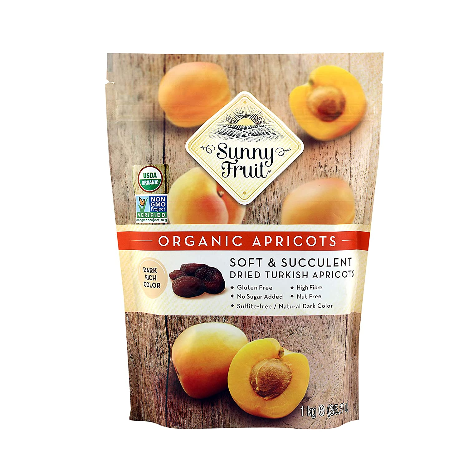 ORGANIC Turkish Dried Apricots - Sunny Fruit - 32oz Bulk Bag | Purely Apricots - NO Added Sugars, Sulfurs or Preservatives | NON-GMO, VEGAN, HALAL & KOSHER