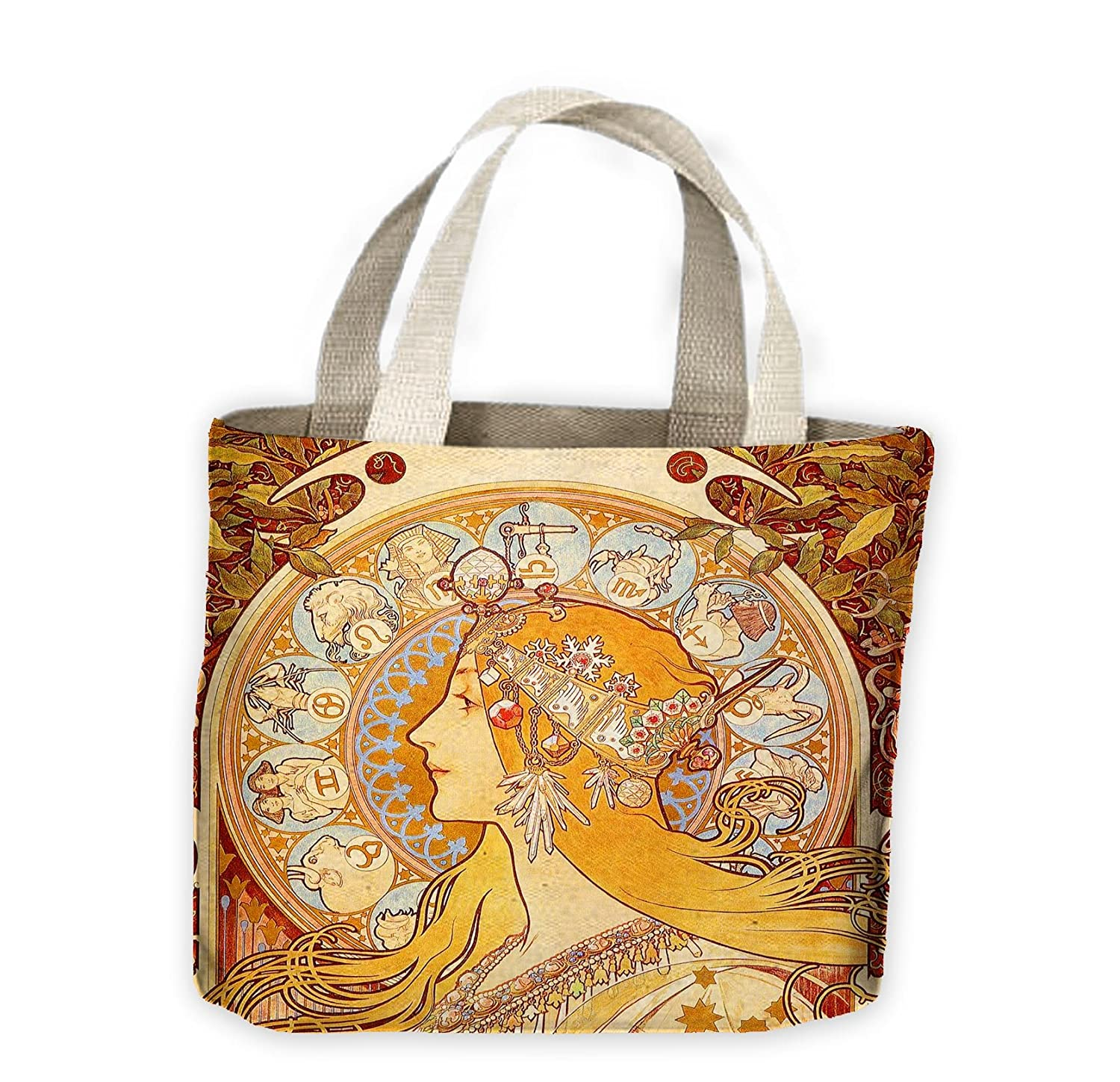 Alphonse Mucha Zodiac Tote Shopping Bag For Life Tribal T-Shirts