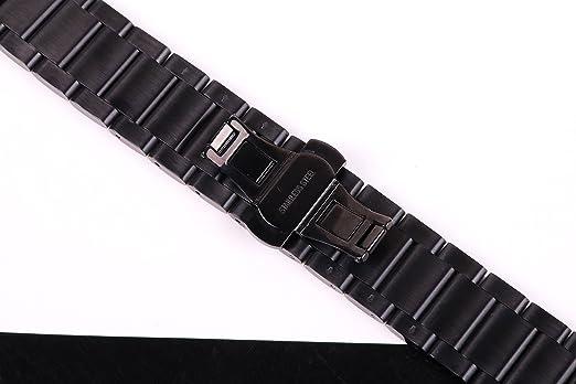banda de reloj ss metálica de 20 mm de los hombres de lujo de peinado hacia atrás 304 inox correa del reloj de acero para ver el deporte en negro: ...