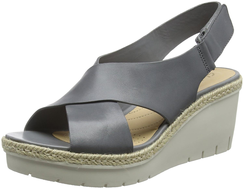 Clarks Palm Glow, Sandalia con Pulsera para Mujer 39.5 EU|Gris (Grey Leather)