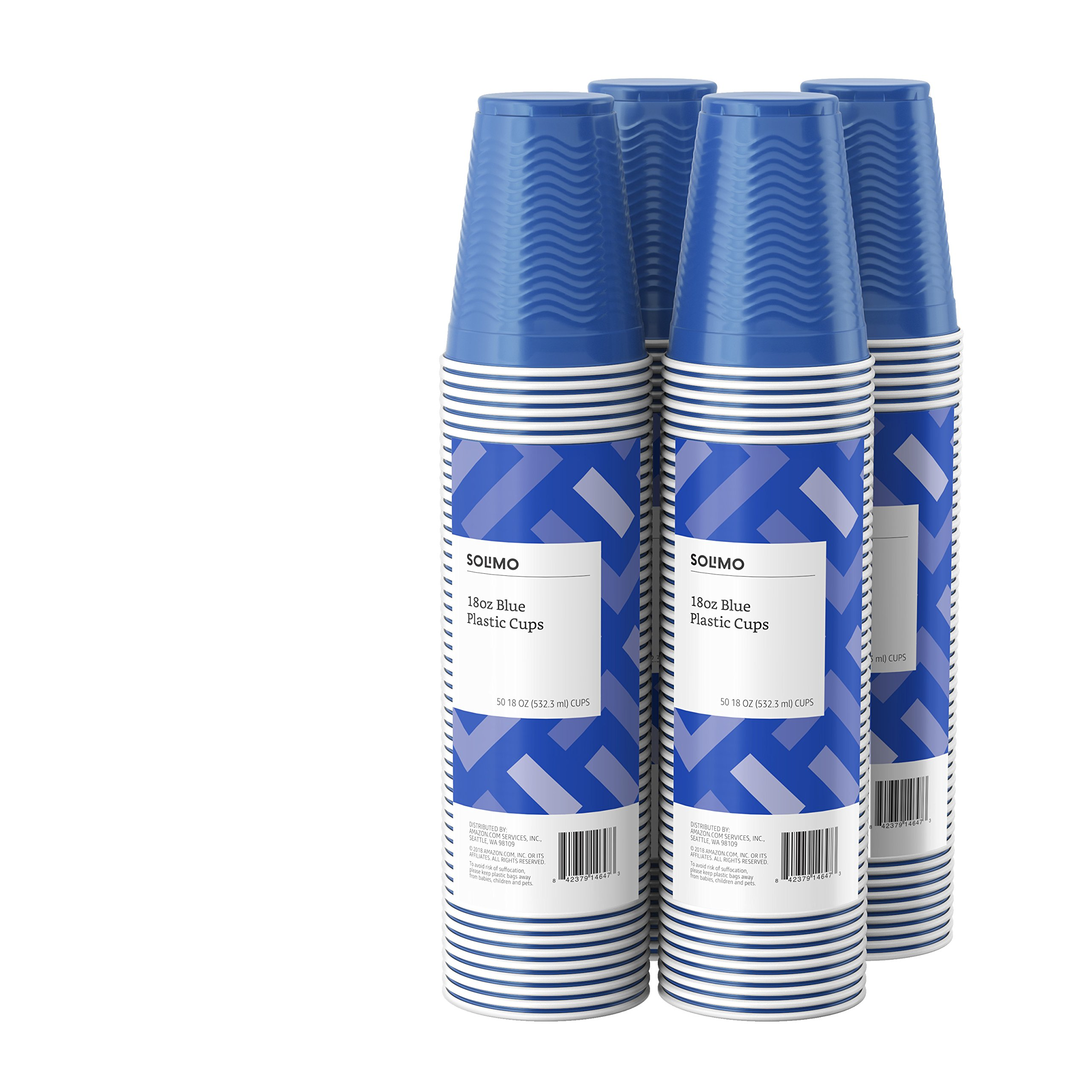 Amazon Brand - Solimo 18oz Disposable Plastic Cups, 200 Count, Blue