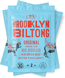 product image for Brooklyn Biltong - Air Dried Grass Fed Beef Snack, South African Beef Jerky - Whole30 Approved, Paleo, Keto, Gluten Free, Sugar Free, Made in USA - 2 oz. Bags, 3 Count (Original)