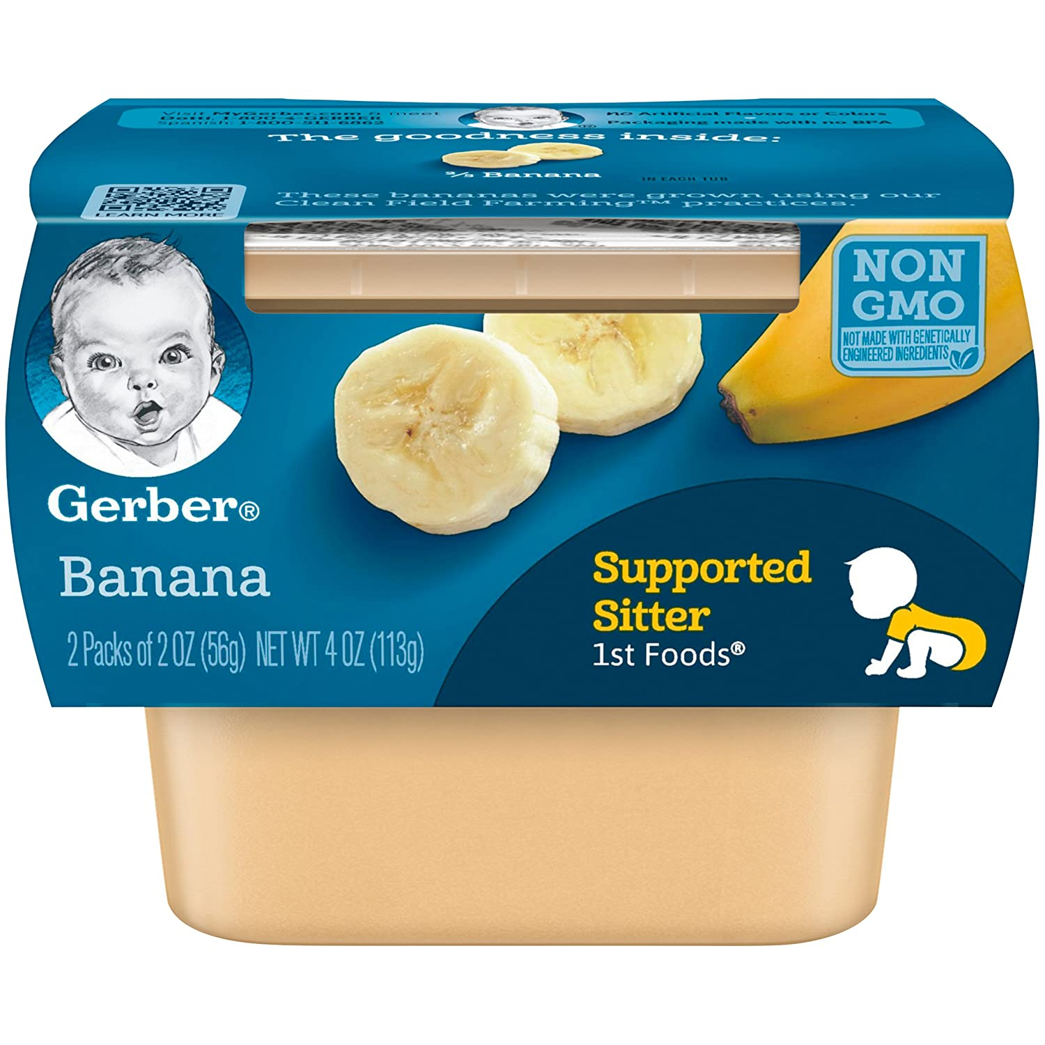 Gerber 1st Foods, Banana Pureed Baby Food, 2 Ounce Tubs, 2 Count (Pack of 8)