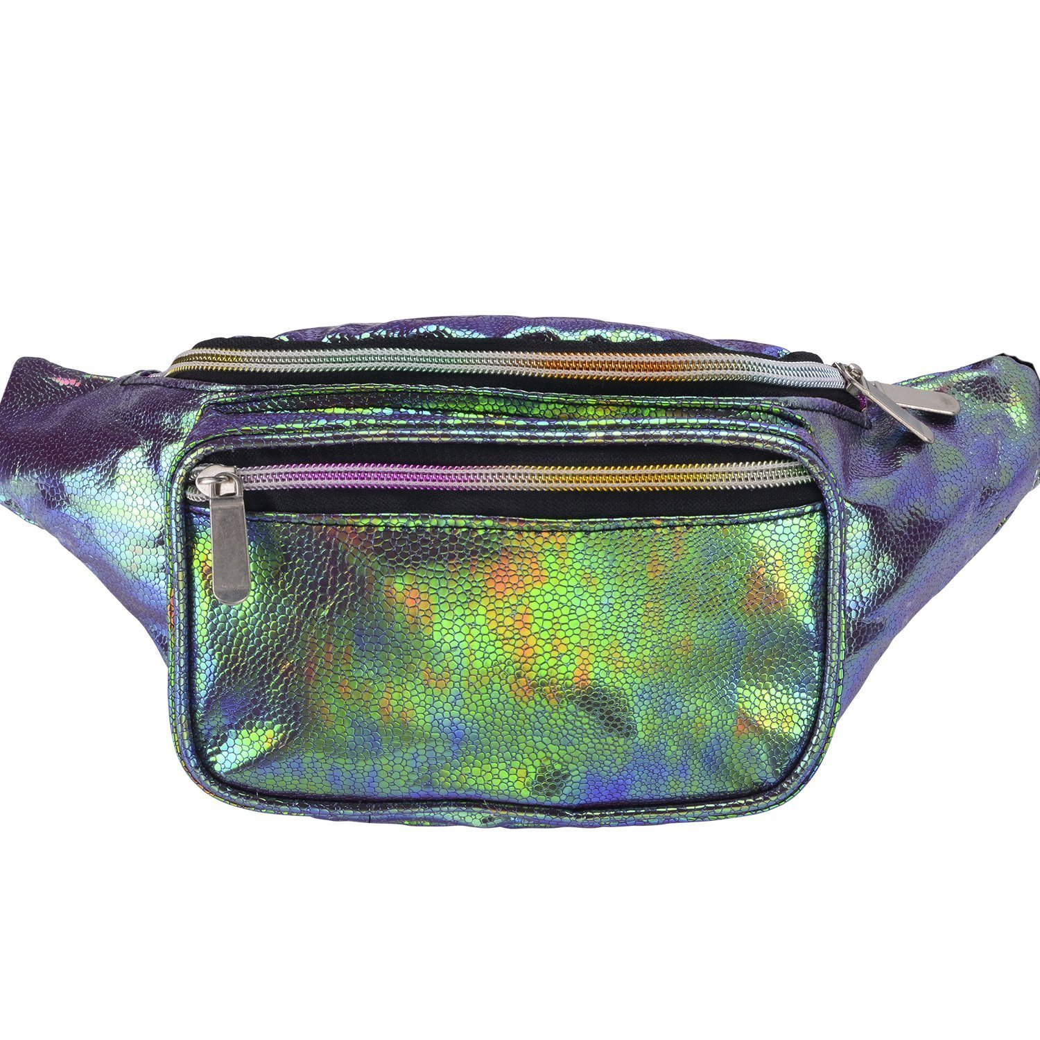 Miracu Holographic Neon Fanny Packs for Women, Fashion Cute Fanny Pack for Rave, Festival (Holographic Green)