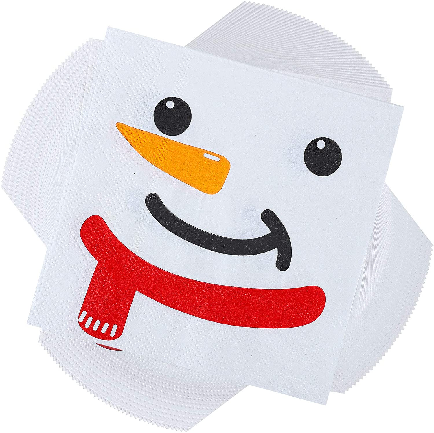 Aneco 100 Pack Christmas Lunch Napkins Party Supplies Disposable Paper Napkins Party Supplies with 3 Layers Fancy Cocktail Napkins, 5 by 5 Inches (Snowman)