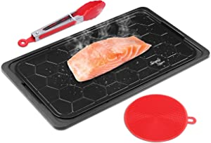 Fast Defrosting Tray - Meat Thawing Board for Natural Thawing Frozen Meat and Food - Miracle Thaw for Fridge - Rapid Thaw Defrosting Plate to Keep Original Food Flavor - Large with Drip Tray