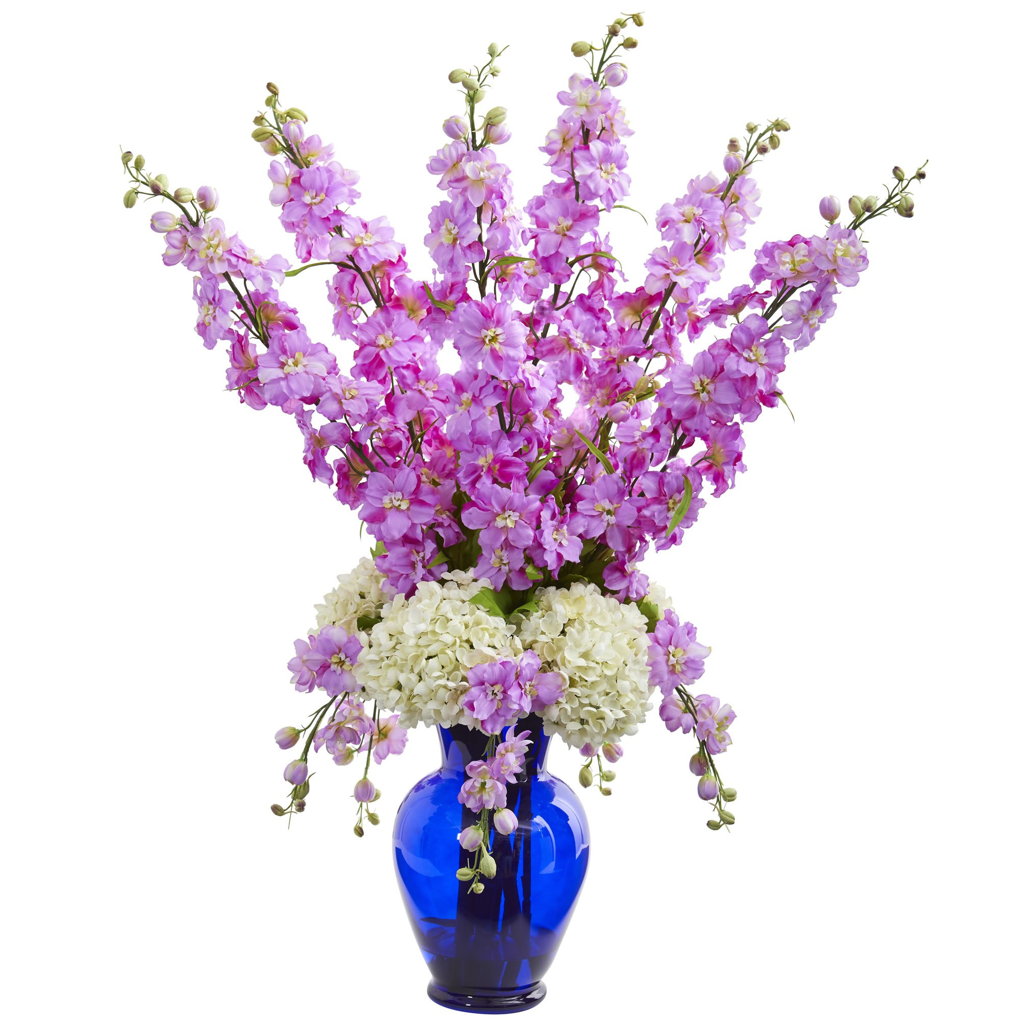 Nearly-Natural-1657-LV-Delphinium-and-Hydrangea-Artificial-Blue-Vase-Silk-Arrangements-Lavender