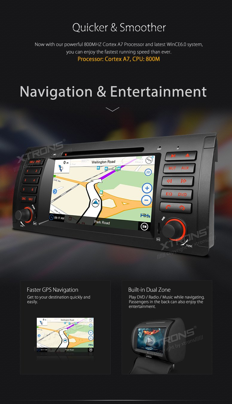 XTRONS 7 Inch HD Digital Touch Screen Car Stereo Radio In-Dash DVD Player with GPS CANbus Screen Mirroring Function for BMW E53 X5 Navigation Map Card & Reversing Camera Included by XTRONS (Image #5)