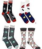 Super Mario Bros Nintendo 4 Sock Bundle - Toad Sock, Grey 8 Bit Mario, Mushroom and Black Mario