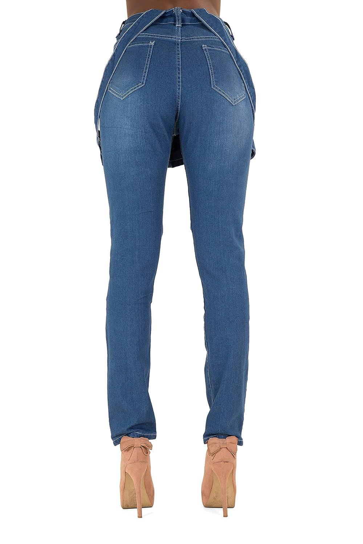 987ba1fd544 Women s Ladies Ripped Navy Blue Denim Boyfriend Dungaree Jeans Size 14   Amazon.co.uk  Clothing