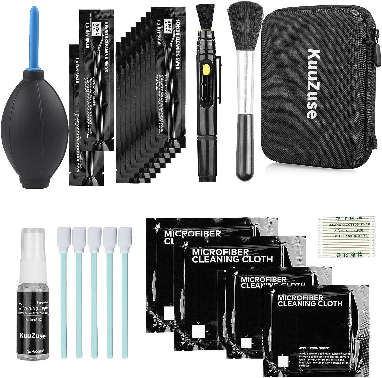 Kit de Limpieza Profesional de cámaras DSLR de KuuZuse con hisopos de Limpieza APS-C, paños de Microfibra, bolígrafo para Lentes, Lentes ópticas y cámaras Digitales SLR