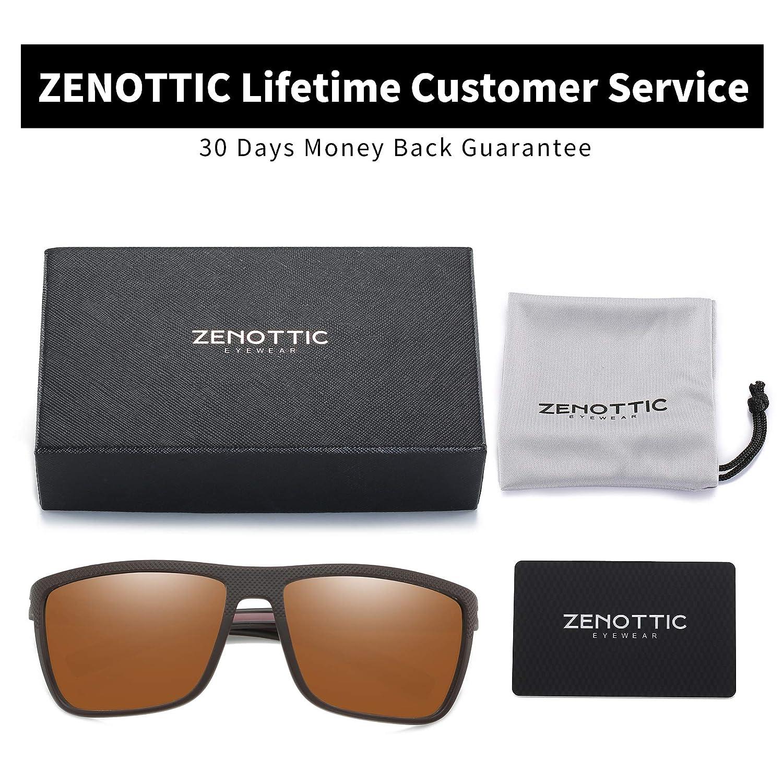ZENOTTIC Men Square Sunglasses Polarized Lightweight TR90 UV Sun Glasses