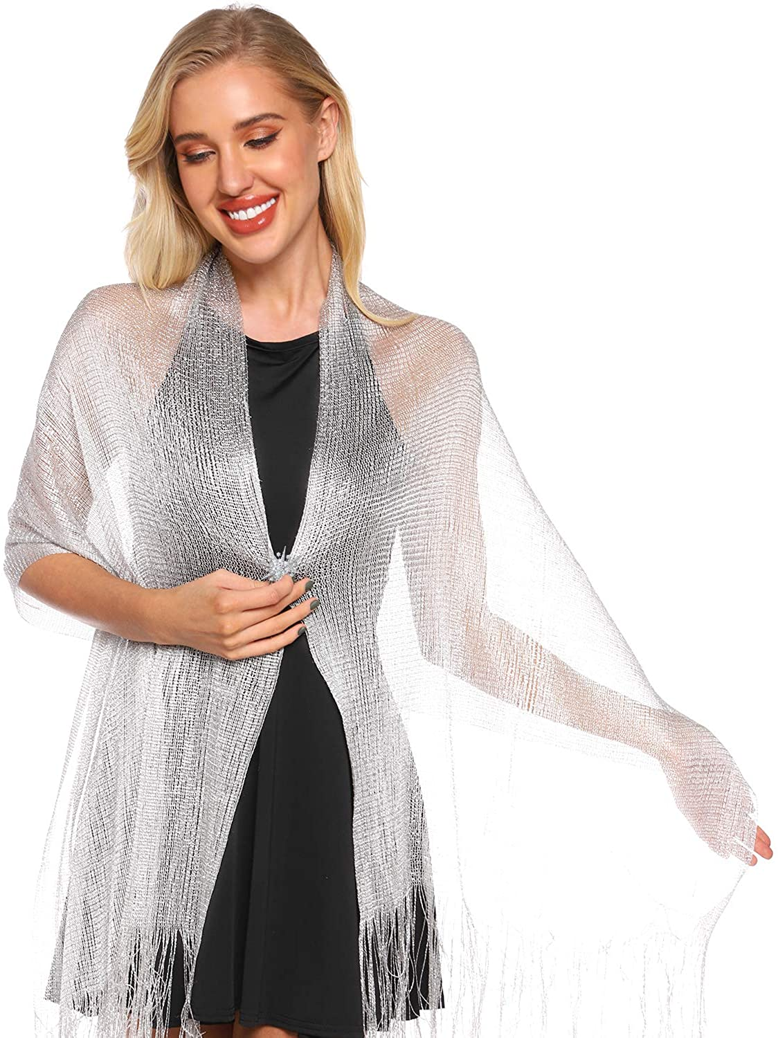 Metallic Shimmering Shawls and Wraps with Snowflake Scarf Clip for Evening Dress