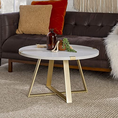Walker Edison Furniture Company Rustic Farmhouse Round Metal Coffee Accent Table Living Room, Marble Gold