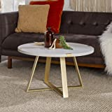 Walker Edison Furniture Company Rustic Farmhouse Round Metal Coffee Accent Table Living Room, Marble/Gold