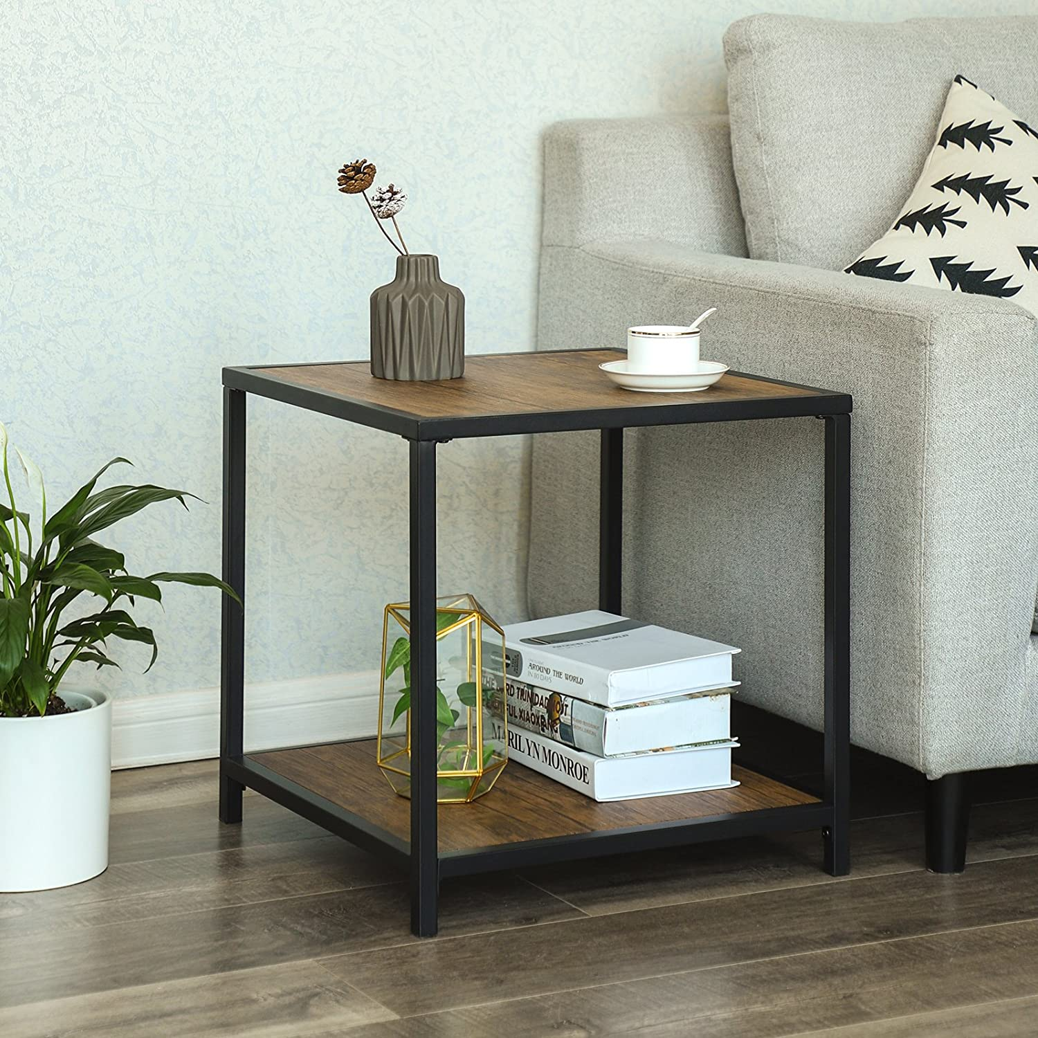 VASAGLE Industrial End Table with Storage Shelf, Living Room Hall Office, Easy Assembly with Iron Frame, Wood Look Accent Furniture in Cube Shape, Rustic ULET50BM