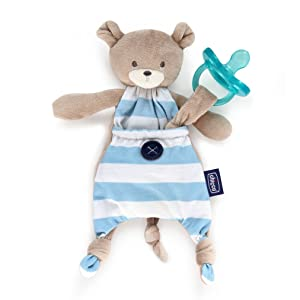 Chicco Pocket Buddies Soft Pacifier Holder-Lovey, Soothing Plush Toy Animal 0M+, Blue Bear