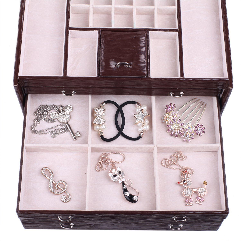 Rowling Large Jewellery Box Watch Bracelets Rings Earring Cufflinks Women Handbag (BROWN) by Rowling (Image #9)