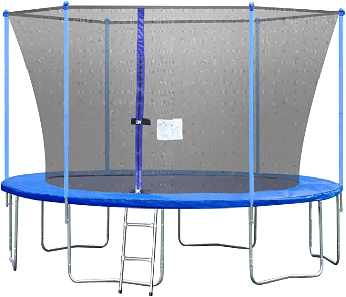 Ninasill 12 ft Trampoline Round Jumping Table with Safety Enclosure Net Sping Pad Combo Bounding Bed Trampoline Fitness Equipment Summer Exercise for Adult Kids Indoor//Outdoor Toy Great Gift