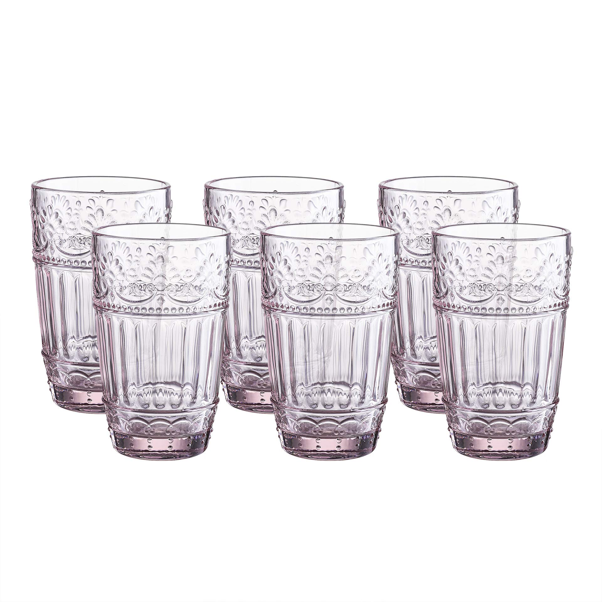Glass Tumblers,12 Ounce Embossed Design Drinking Glasses Set of 6 (Pink)