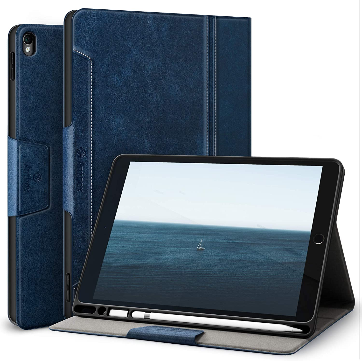 Antbox iPad 10.5 Case with Built-in Apple Pencil Holder Auto Sleep / Wake Function PU Leather Smart Cover for iPad Air 3 2019 / iPad Pro 10.5 inch 2017 (Blue)
