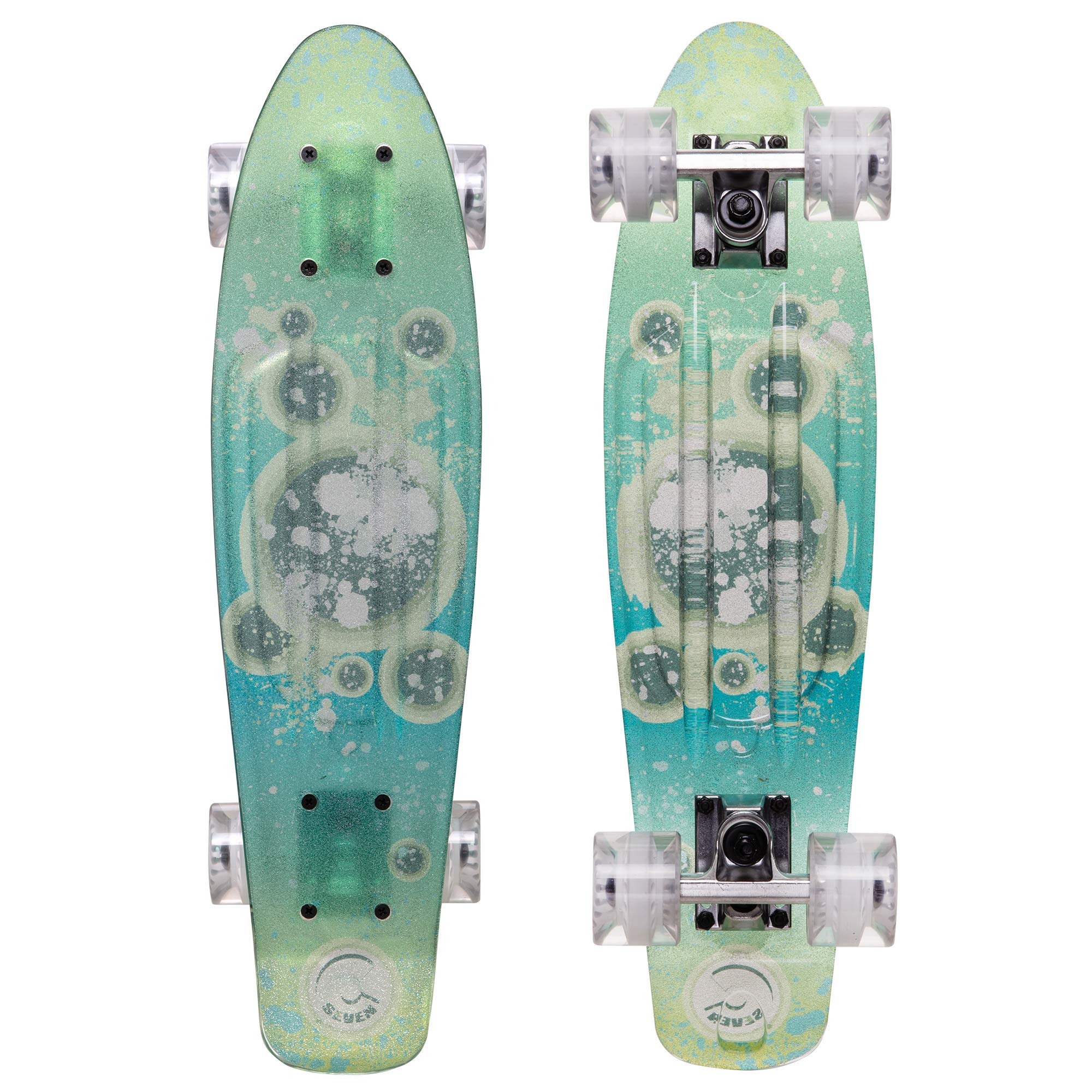 Cal 7 Complete Mini Cruiser   22 Inch Micro Board   Vintage Skateboard for School and Travel (Transparent Nebula) by Cal 7