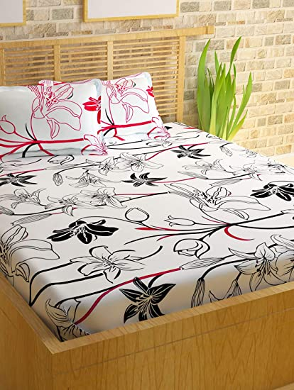 a9f251a583a Story  Home White 186 TC 100% Cotton 1 Double Bedsheet with 2 Pillow Cover  White Pink  Amazon.in  Home   Kitchen