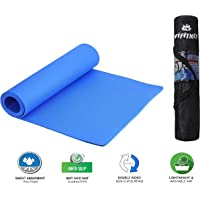 VI FITKIT® Yoga Mat Anti Skid EVA Yoga mat with Bag for Gym Workout and Flooring Exercise Long Size Yoga Mat for Men and Women (Color - Blue)