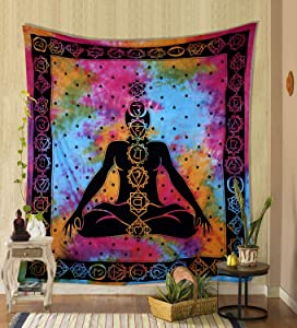 THE ART BOX Seven Chakra Yoga Meditation Studio Room Decorations Tie Dye Hippie Psychedelic Tapestry Poster 7 Chakras Tapestries Meditating Peace Wall Art Hanging Decor