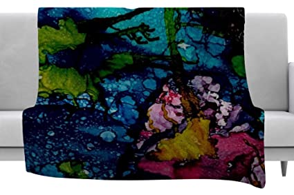 40 x 30 Fleece Blanket Kess InHouse Suzanne Carter Happy Black Floral Throw