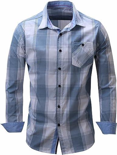 Camisas de Hombres chaqueta/camisa de manga larga de algodón puro tira atrás cowboy collar, azul y gris, XXL: Amazon.es: Ropa y accesorios