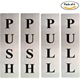 ZHENGTU Self Adhesive Stainless Steel PUSH & PULL Metal Signage Board- Set of 4 Pieces
