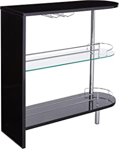 2-holder Bar Table Glossy Black and Clear