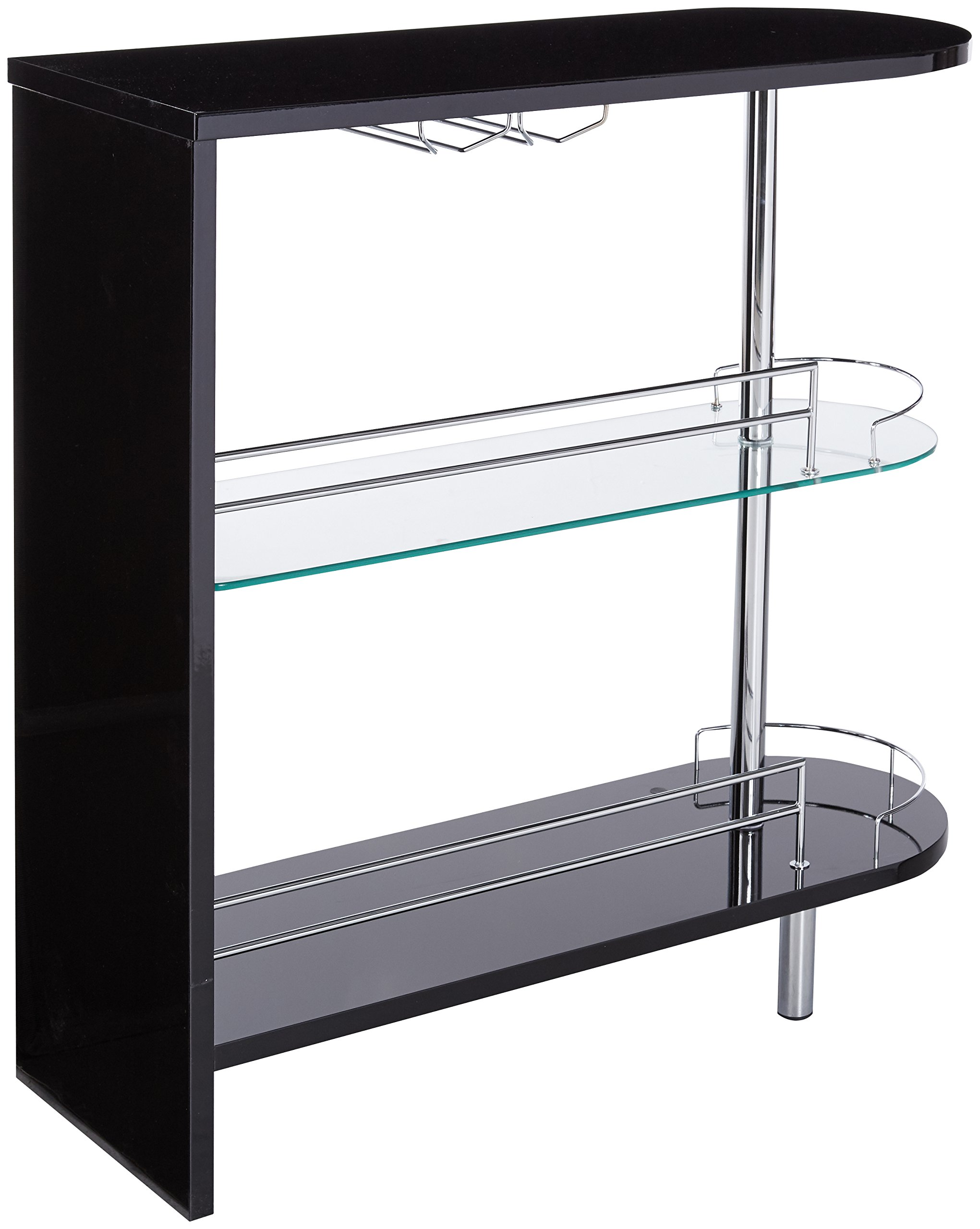 2-holder Bar Table Glossy Black and Clear by Coaster Home Furnishings