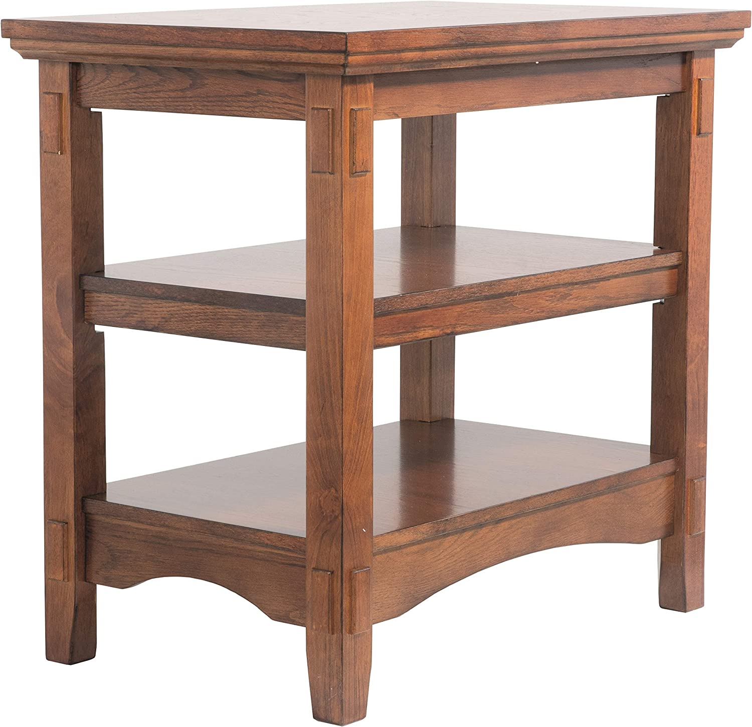Benjara Wooden End Table with Mortise and Tenon Joints Brown