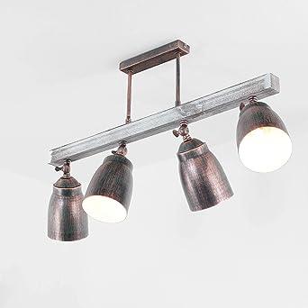 Stilechte Deckenlampe E27 4 Flmg Holz Shabby Weiss Metall Schwenkbar Vintage Lampe Wohnzimmer Esstisch