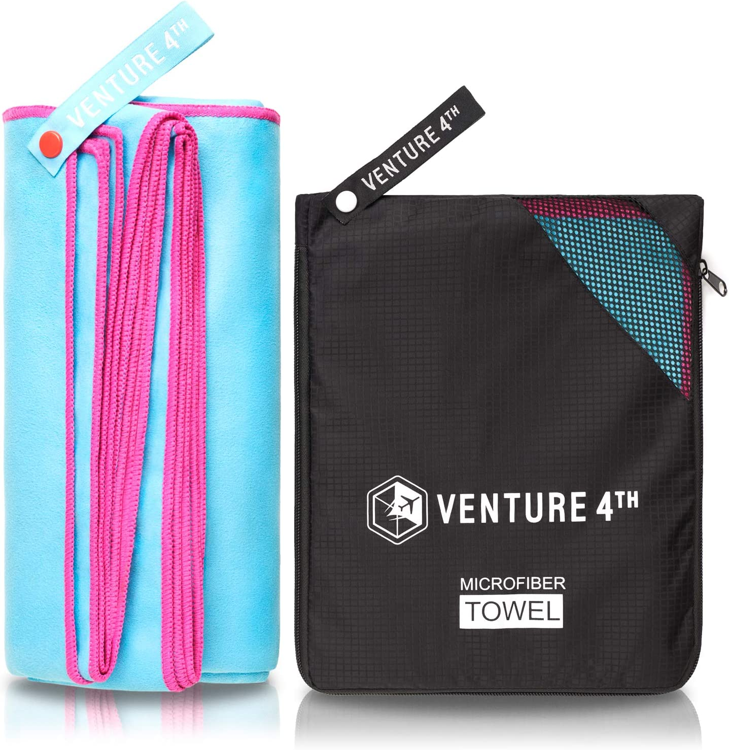 Camping Fast Drying and Lightweight Backpacking Swimmers VENTURE 4TH Micro Fiber Travel Towel Blue-Pink Medium Sports Towel: Packtowel for Gym Beach