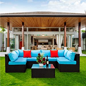 COODENKEY 5 Pieces Patio Furniture Set Outdoor PE Rattan L-Sharped Couch,All Weather Sectional Corner Sofa with 1 Coffee Table,2 Pillows and Blue Cushions for Backyard or Garden